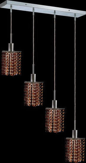 C121-1284D-O-P-TO/RC By Elegant Lighting Mini Collection 4 Lights Pendant Chrome Finish