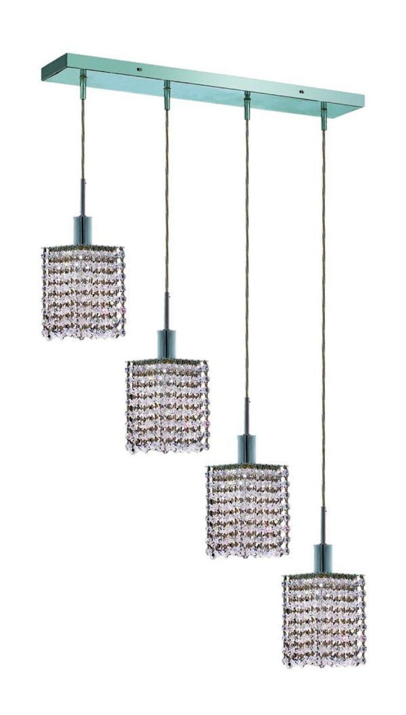 C121-1284D-O-S-CL/RC By Elegant Lighting Mini Collection 4 Lights Pendant Chrome Finish