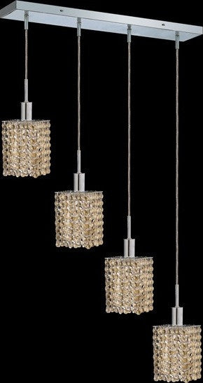 C121-1284D-O-S-GT/RC By Elegant Lighting Mini Collection 4 Lights Pendant Chrome Finish