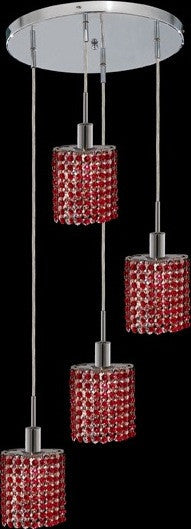 C121-1284D-R-E-BO/RC By Elegant Lighting Mini Collection 4 Lights Pendant Chrome Finish