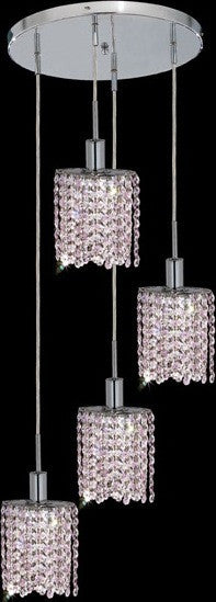 C121-1284D-R-E-RO/RC By Elegant Lighting Mini Collection 4 Lights Pendant Chrome Finish