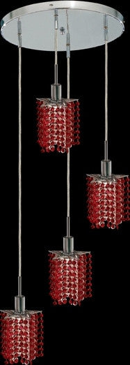 C121-1284D-R-P-BO/RC By Elegant Lighting Mini Collection 4 Lights Pendant Chrome Finish