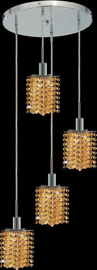 C121-1284D-R-P-LT/RC By Elegant Lighting Mini Collection 4 Lights Pendant Chrome Finish
