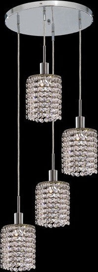 C121-1284D-R-R-CL/RC By Elegant Lighting Mini Collection 4 Lights Pendant Chrome Finish