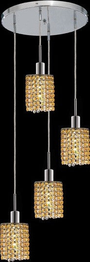 C121-1284D-R-R-LT/RC By Elegant Lighting Mini Collection 4 Lights Pendant Chrome Finish