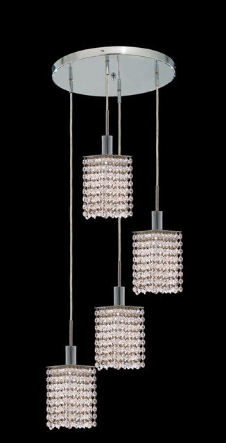 C121-1284D-R-S-CL/RC By Elegant Lighting Mini Collection 4 Lights Pendant Chrome Finish