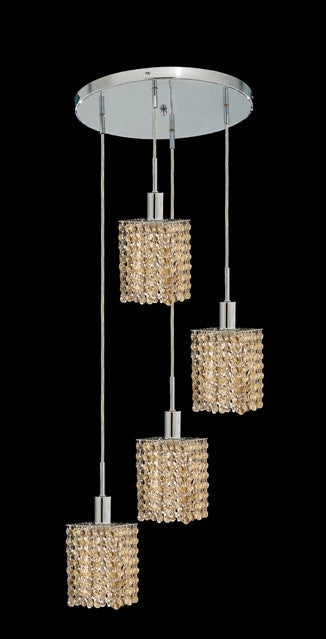 C121-1284D-R-S-GT/RC By Elegant Lighting Mini Collection 4 Lights Pendant Chrome Finish