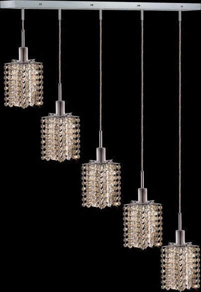 C121-1285D-O-P-GT/RC By Elegant Lighting Mini Collection 5 Lights Pendant Chrome Finish