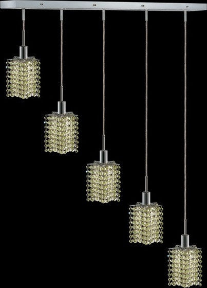 C121-1285D-O-P-LP/RC By Elegant Lighting Mini Collection 5 Lights Pendant Chrome Finish