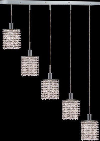 C121-1285D-O-S-CL/RC By Elegant Lighting Mini Collection 5 Lights Pendant Chrome Finish
