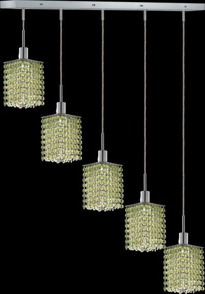 C121-1285D-O-S-LP/RC By Elegant Lighting Mini Collection 5 Lights Pendant Chrome Finish
