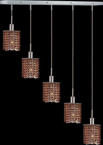 C121-1285D-O-S-TO/RC By Elegant Lighting Mini Collection 5 Lights Pendant Chrome Finish