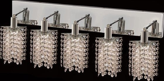 C121-1285W-O-P-CL/RC By Elegant Lighting Mini Collection 5 Lights Wall Sconce Chrome Finish