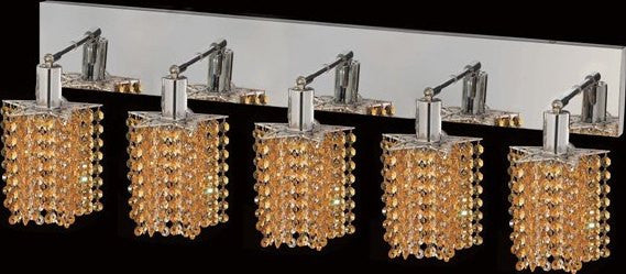 C121-1285W-O-P-LT/RC By Elegant Lighting Mini Collection 5 Lights Wall Sconce Chrome Finish