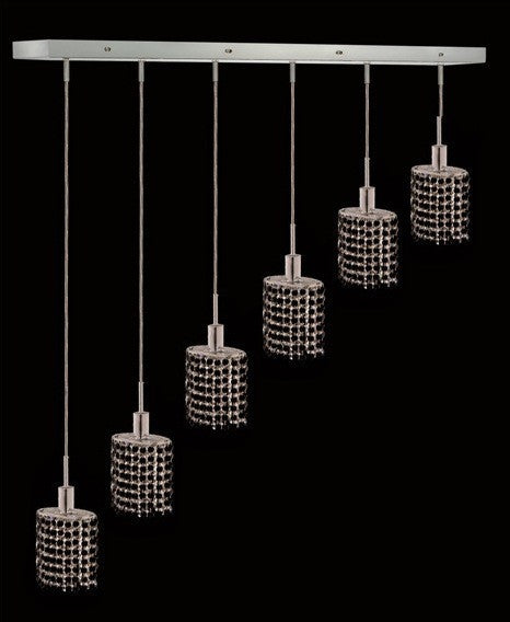 C121-1286D-O-E-JT/RC By Elegant Lighting Mini Collection 6 Lights Pendant Chrome Finish