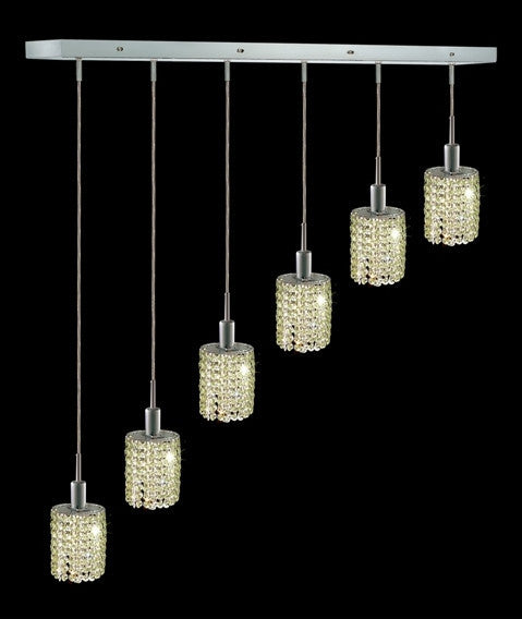 C121-1286D-O-E-LP/RC By Elegant Lighting Mini Collection 6 Lights Pendant Chrome Finish