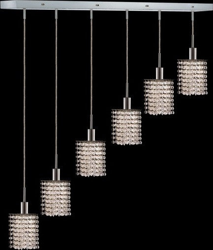 C121-1286D-O-P-CL/RC By Elegant Lighting Mini Collection 6 Lights Pendant Chrome Finish