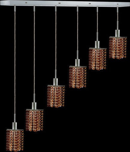 C121-1286D-O-P-TO/RC By Elegant Lighting Mini Collection 6 Lights Pendant Chrome Finish