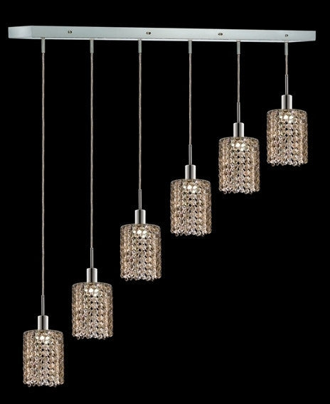 C121-1286D-O-R-GT/RC By Elegant Lighting Mini Collection 6 Lights Pendant Chrome Finish