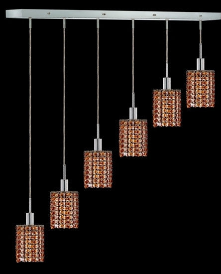 C121-1286D-O-R-TO/RC By Elegant Lighting Mini Collection 6 Lights Pendant Chrome Finish