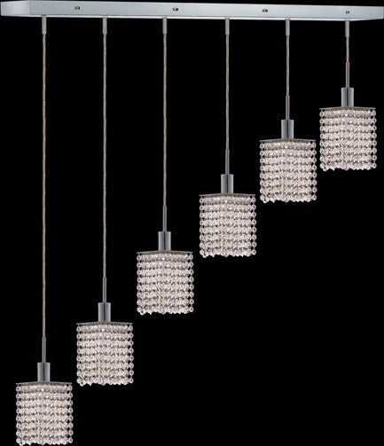 C121-1286D-O-S-CL/RC By Elegant Lighting Mini Collection 6 Lights Pendant Chrome Finish