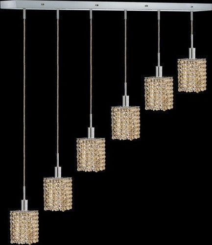 C121-1286D-O-S-GT/RC By Elegant Lighting Mini Collection 6 Lights Pendant Chrome Finish