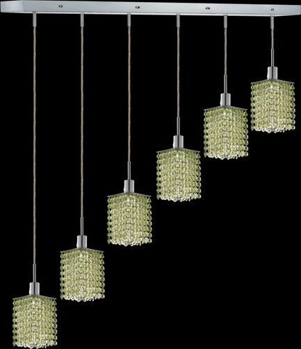 C121-1286D-O-S-LP/RC By Elegant Lighting Mini Collection 6 Lights Pendant Chrome Finish