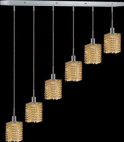 C121-1286D-O-S-LT/RC By Elegant Lighting Mini Collection 6 Lights Pendant Chrome Finish