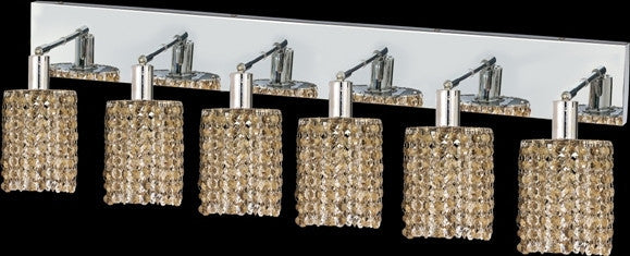 C121-1286W-O-R-GT/RC By Elegant Lighting Mini Collection 6 Lights Wall Sconce Chrome Finish