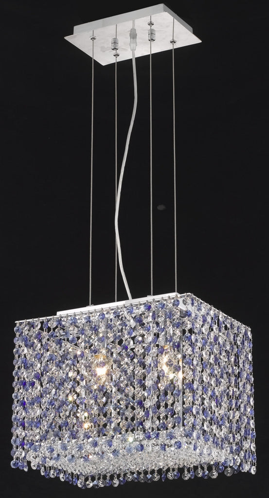 C121-1291D14C-CL/RC By Elegant Lighting Moda Collection 2 Light Chandeliers Chrome Finish