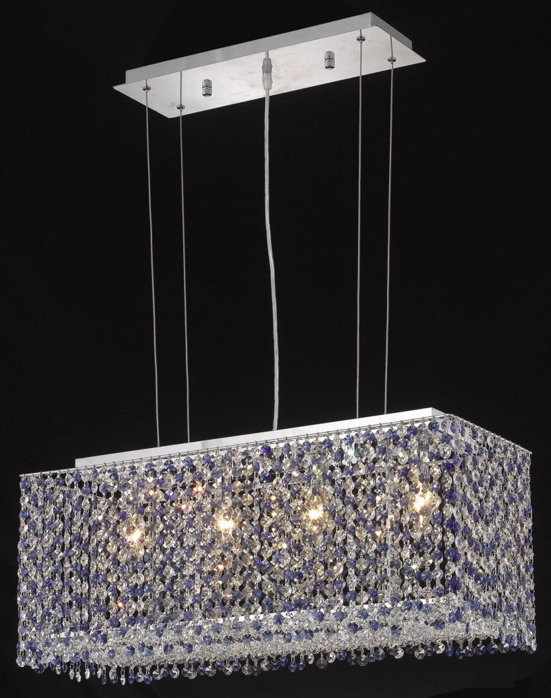 C121-1291D26C-LP/RC By Elegant Lighting Moda Collection 4 Light Chandeliers Chrome Finish
