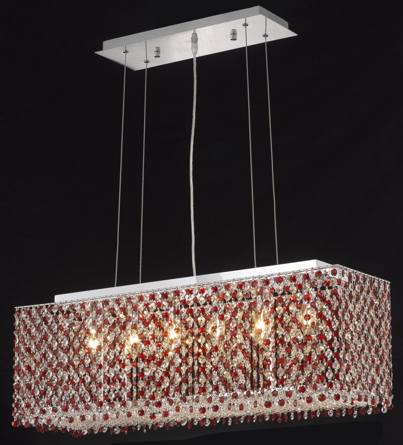 C121-1291D32C-GT/RC By Elegant Lighting Moda Collection 6 Light Chandeliers Chrome Finish