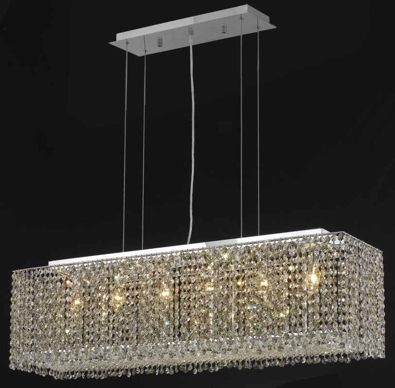 C121-1291D38C-LP/RC By Elegant Lighting Moda Collection 6 Light Chandeliers Chrome Finish