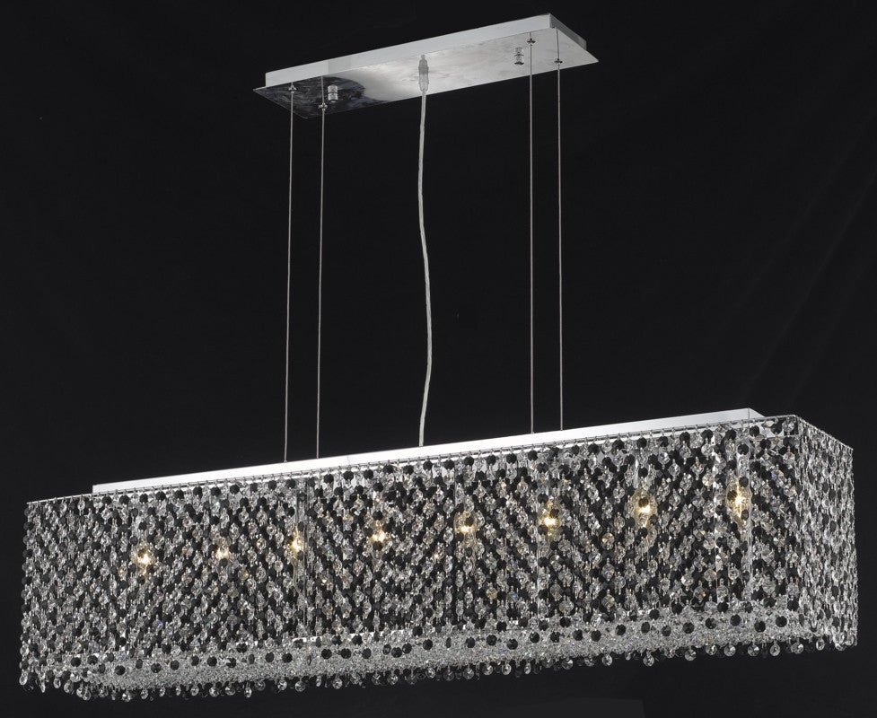 C121-1291D46C-TO/RC By Elegant Lighting Moda Collection 6 Light Chandeliers Chrome Finish