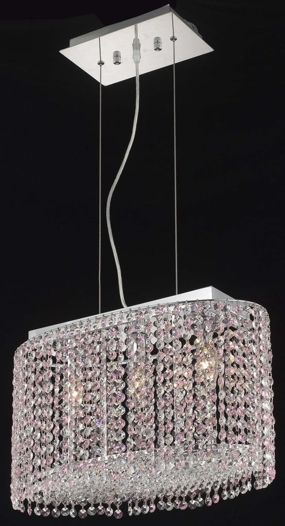 C121-1292D18C-TO/RC By Elegant Lighting Moda Collection 3 Light Chandeliers Chrome Finish