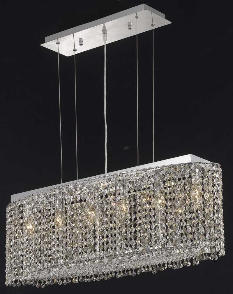 C121-1292D32C-CL/RC By Elegant Lighting Moda Collection 6 Light Chandeliers Chrome Finish