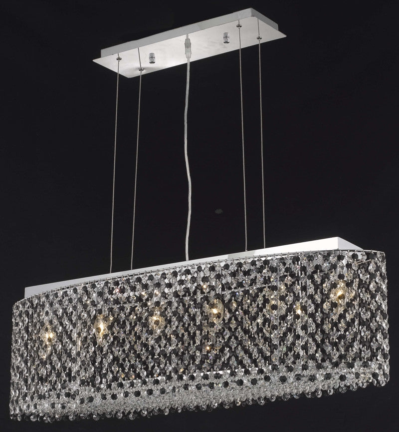 C121-1292D38C-BO/RC By Elegant Lighting Moda Collection 6 Light Chandeliers Chrome Finish