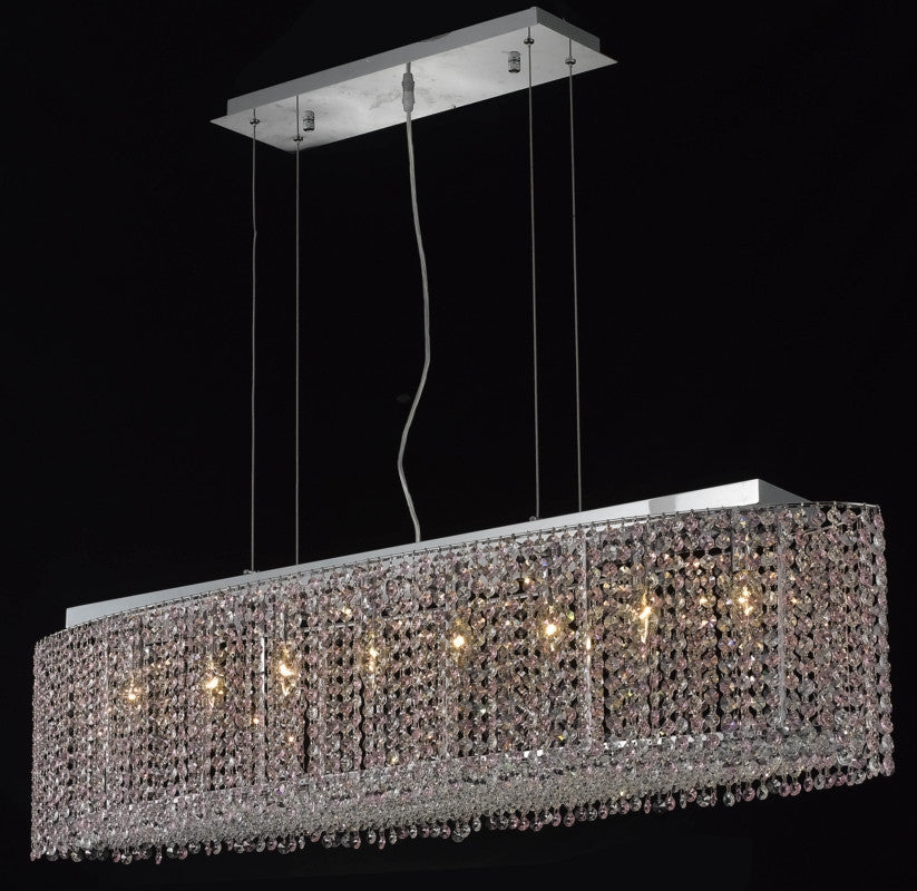 C121-1292D46C-LP/RC By Elegant Lighting Moda Collection 8 Light Chandeliers Chrome Finish