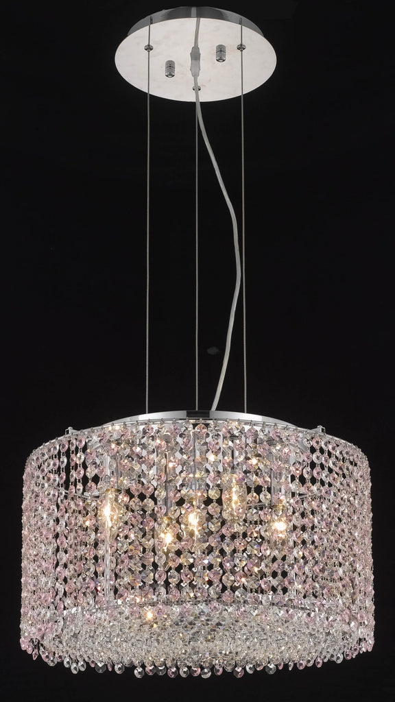 C121-1293D18C-GT/RC By Elegant Lighting Moda Collection 5 Light Chandeliers Chrome Finish