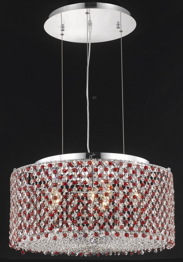 C121-1293D22C-LP/RC By Elegant Lighting Moda Collection 6 Light Chandeliers Chrome Finish