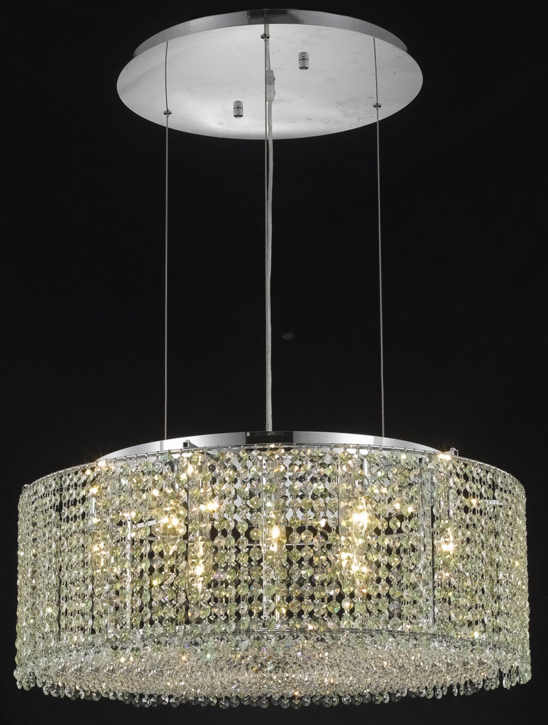 C121-1293D26C-GT/RC By Elegant Lighting Moda Collection 9 Light Chandeliers Chrome Finish