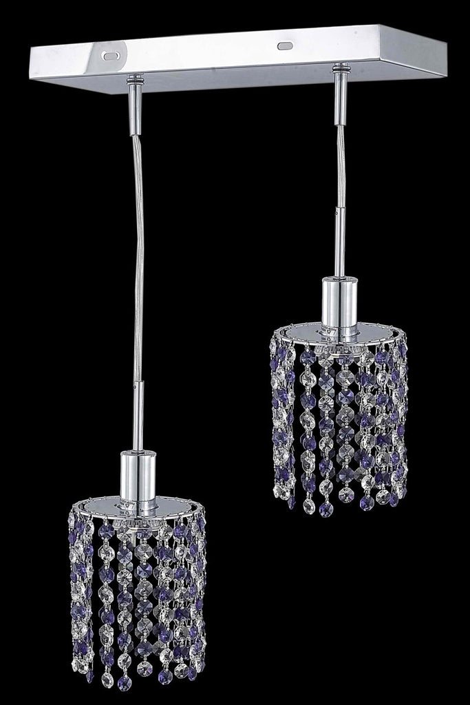 C121-1382D-O-R-LT/RC By Elegant Lighting Mini Collection 2 Light Pendants Chrome Finish