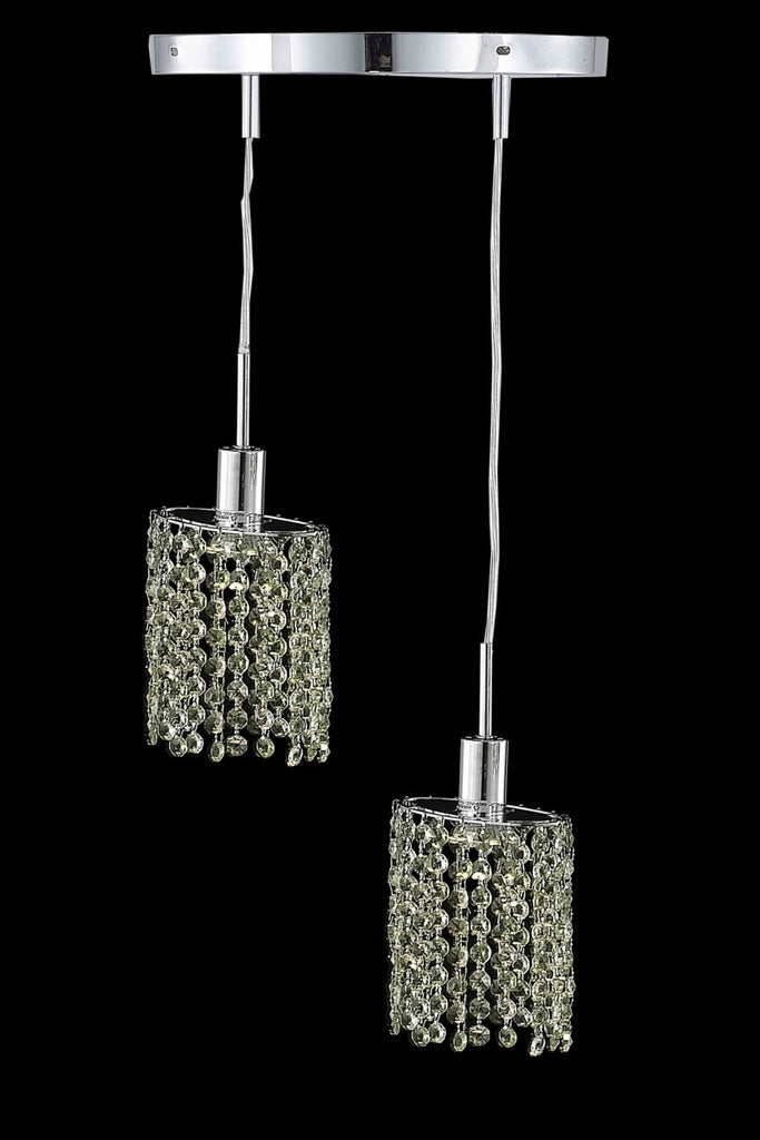 C121-1382D-R-E-LT/RC By Elegant Lighting Mini Collection 2 Light Pendants Chrome Finish