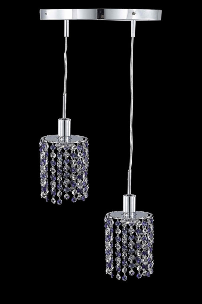 C121-1382D-R-R-GT/RC By Elegant Lighting Mini Collection 2 Light Pendants Chrome Finish