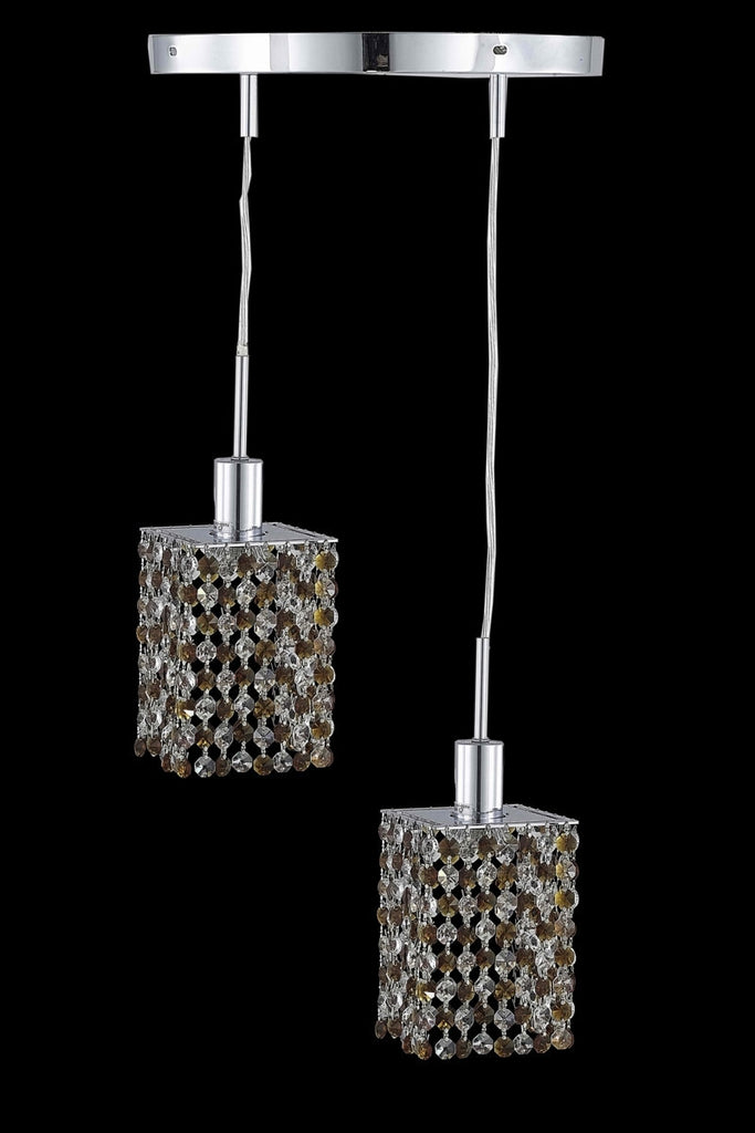 C121-1382D-R-S-TO/RC By Elegant Lighting Mini Collection 2 Light Pendants Chrome Finish