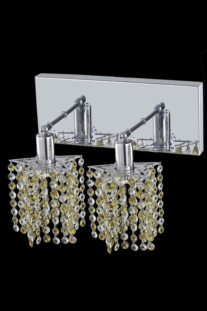 C121-1382W-O-P-LP/RC By Elegant Lighting Mini Collection 2 Light Wall Sconces Chrome Finish