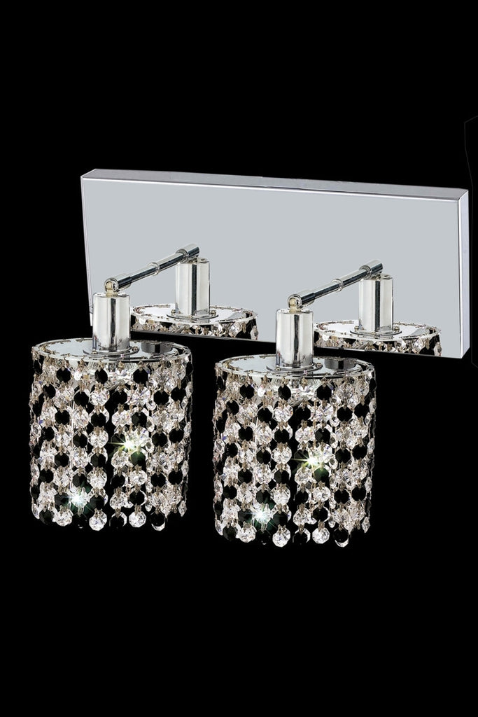 C121-1382W-O-R-JT/RC By Elegant Lighting Mini Collection 2 Light Wall Sconces Chrome Finish