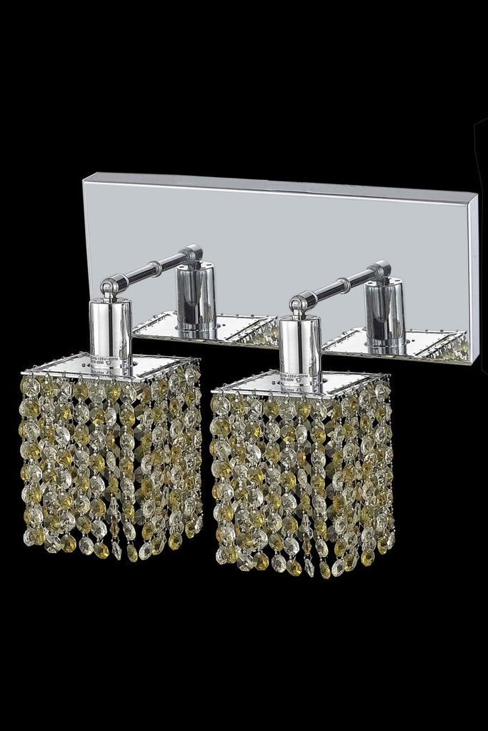 C121-1382W-O-S-GT/RC By Elegant Lighting Mini Collection 2 Light Wall Sconces Chrome Finish