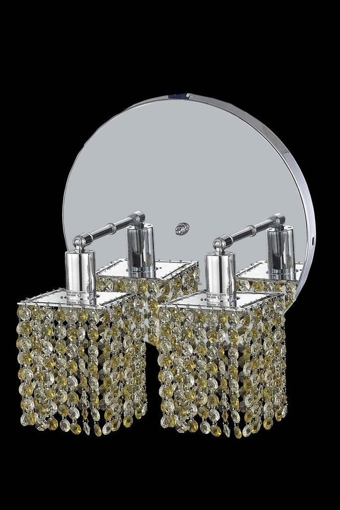 C121-1382W-R-S-LT/RC By Elegant Lighting Mini Collection 2 Light Wall Sconces Chrome Finish