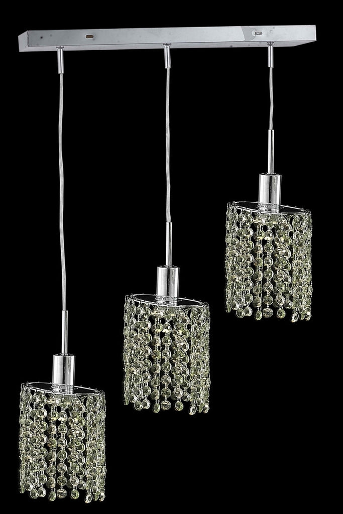 C121-1383D-O-E-LP/RC By Elegant Lighting Mini Collection 3 Light Pendants Chrome Finish